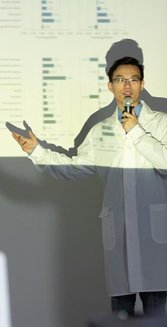 Scientist presenting data
