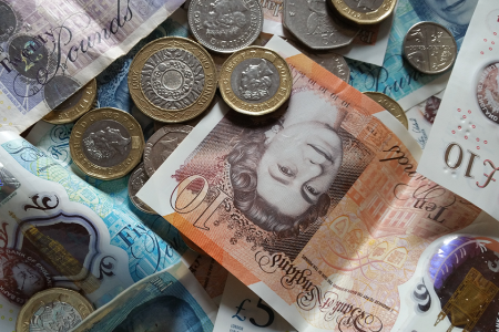 Pile of pound sterling, potential cash injection from R&D Tax Credits Claim